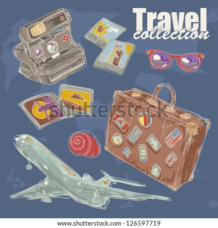 Travel objects collection with plane, suitcase, photo, camera, flip-flop