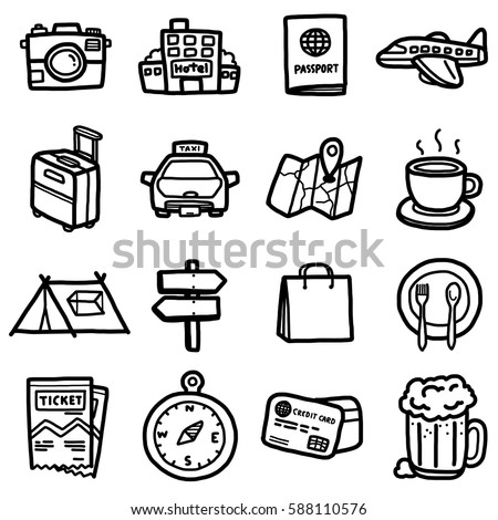 travel objects, icons set / cartoon vector and illustration, hand drawn style, black and white, isolated on white background.