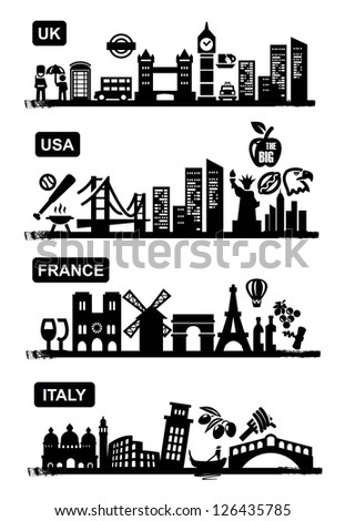 travel of UK USA France and Italy icon