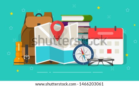Travel or holiday planning vector illustration, flat cartoon desk with vocation trip map, travel luggage, compass and calendar, preparation journey things on table, find tourism location, tourism day