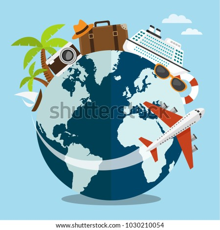 Travel or tour around the world concept on summer. Vector illustration