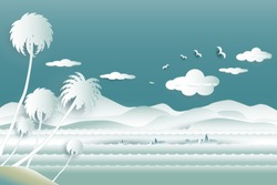 Travel over sea of whale family in water wave between archipelago with the bird flying in the sky and cloud background at summer time,Paper cut style, 3d effect imitation,Vector illustration seascape.