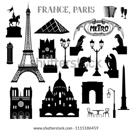 Travel Paris icon set. Vacation in Europe design elements. Travel to visit famous places of France  silhouettes over white background. Landmark collection.