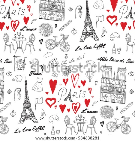 travel paris vector line pattern