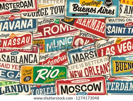 Travel pattern with world wide cities and places. Retro colorful playful  background with popular touristic destinations. Souvenir print layout.