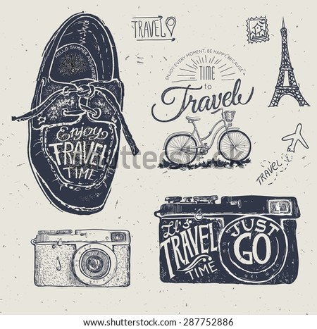 travel photo label with retro