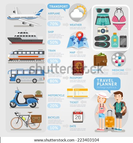 Travel planner infographics element. Vector illustration. Can be used for workflow layout, banner, number options, step up options, web design, diagram.
