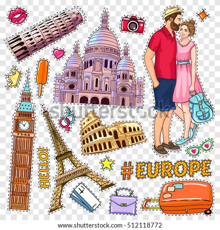 travel pop art patches set with