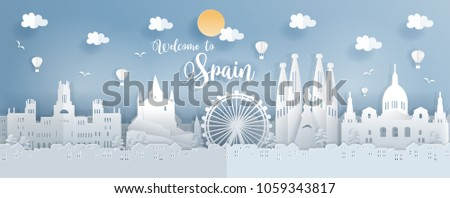 Travel postcard or poster with world famous landmark of Spain, paper cut style vector illustration