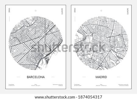 Travel poster, urban street plan city map Barcelona and Madrid, vector illustration Сток-фото ©