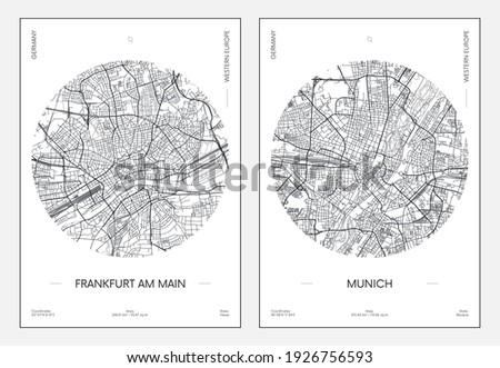 Travel poster, urban street plan city map Frankfurt am Main and Munich, vector illustration