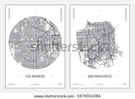 Travel poster, urban street plan city map Los Angeles and San Francisco, vector illustration Сток-фото ©