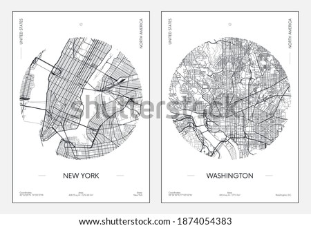 Travel poster, urban street plan city map New York and Washington, vector illustration Сток-фото ©