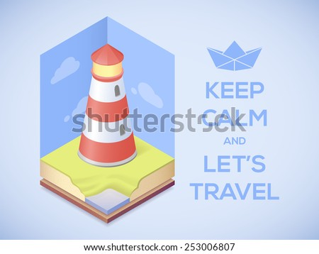 """Travel poster. Vector illustration with slogan """"Keep calm and let's travel"""""""