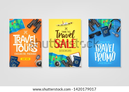 Travel Poster Vector Set Template with Creative Stylish Text Logo and Realistic 3D Traveling Item Elements Good for Digital and Print Design. For Promotional Purposes