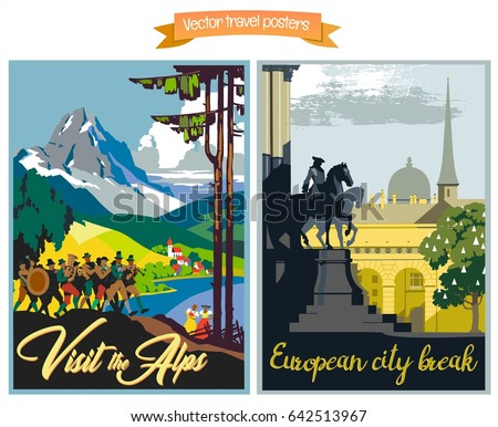 Travel poster vectors illustrations with vintage european holiday destinations