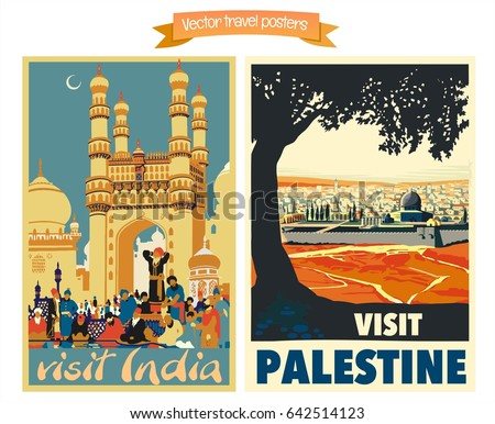 Travel poster vectors illustrations with vintage oriental and middle east holiday destinations