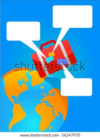 Travel poster with red suitcase and Earth on the background