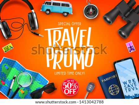 Travel Promo Ads Banner Up To 50% Off Special Offer with Vector 3D Realistic Traveling Item Elements in Orange Background. For Promotional Purposes