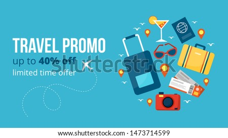 Travel promo banner vector illustration. Template with profitable proposition of discount up to 40 percent with limited time offer in flat style design. Tourism concept. Isolated on blue background