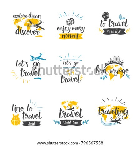 Travel Quotes Icon Set Hand Drawn Lettering Tourism And Adventure Concept Vector Illustration