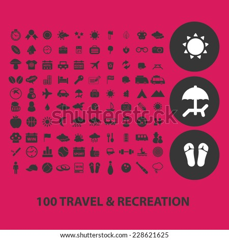 Travel Recreation Tourism Black Isolated Icons Signs Symbols