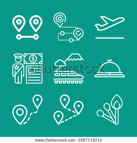 Travel related set of 9 icons such as departures, train, location, distance, customs, matches