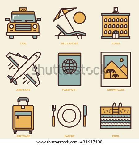 Travel Retro Icon Set. Line Design Vector Illustrations.