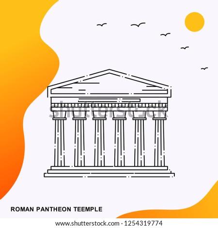 Travel ROMAN PANTHEON TEEMPLE Poster Template