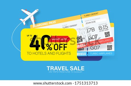 Travel sale banner with yellow tag and tickets. Hot fares for domestic and International flights. Greatest deal on sale flights, book hotels online. Cheap travel offer.