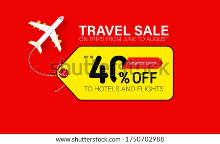 Travel sale banner with yellow tag. Hot fares for domestic and International flights. Greatest deal on sale flights, book hotels online. Cheap travel offer. Foto stock ©