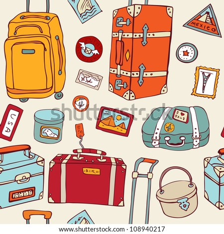 Travel seamless background. Hand drawn Suitcases vintage pattern. - stock vector