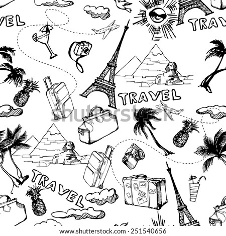 Travel seamless background. Hand drawn summer holidays pattern. Vector illustration