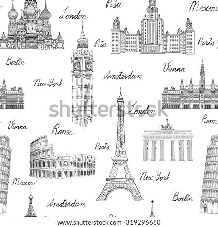 architecture sketch wallpaper. Vacation In Europe Wallpaper. Travel To Visit Famous Places Of Architecture Sketch Wallpaper