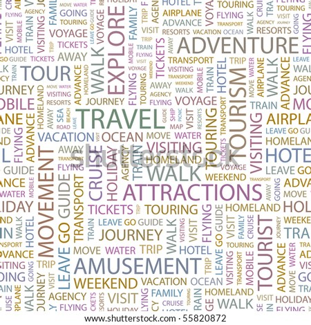 TRAVEL. Seamless vector pattern with word cloud. Illustration with different association terms.