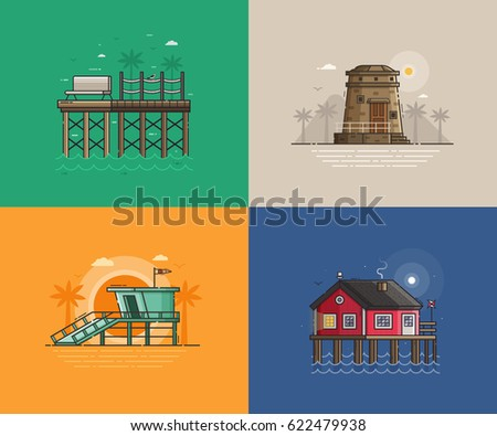 travel seaside landscapes set