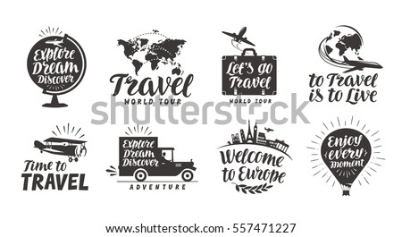Shutterstock Travel set icons. Handwritten lettering. Label vector illustration
