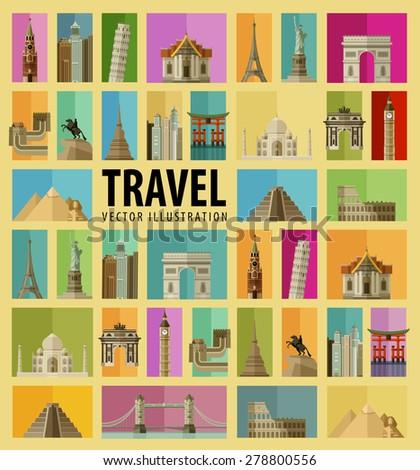 travel set of elements   italy