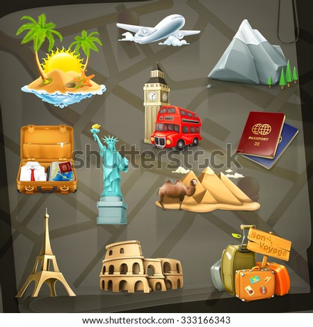 travel set of vector icons on