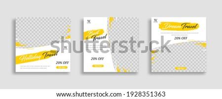 Travel sosial media post template vector Stock photo ©