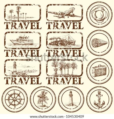 travel stamp  mark   hand drawn ...