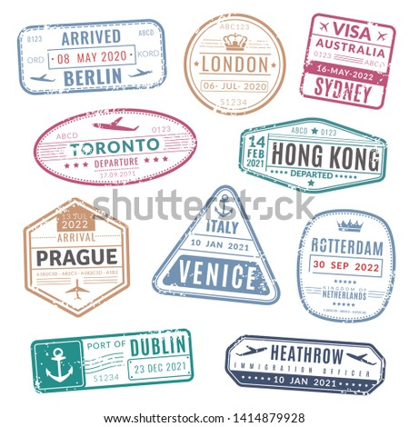 Travel stamp. Vintage passport visa international arrived stamps with grunge texture. Isolated stamping vector set