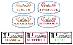 Travel stamps from United Kingdom (UK). Grungy scalable stamps (not real passport stamps). UK destinations: London, Liverpool, Manchester, Birmingham, Glasgow, Sheffield and Leeds.
