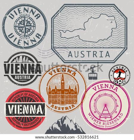 Travel stamps or adventure symbols set, Austria and Vienna theme, vector illustration