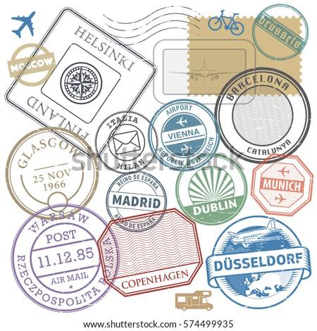 Travel stamps or adventure symbols set Europe theme, vector illustration