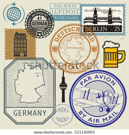 travel stamps or symbols set ...
