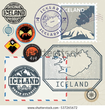 travel stamps or symbols set