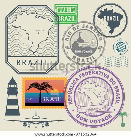 travel stamps set  brazil