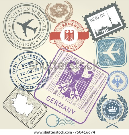 travel stamps set germany and