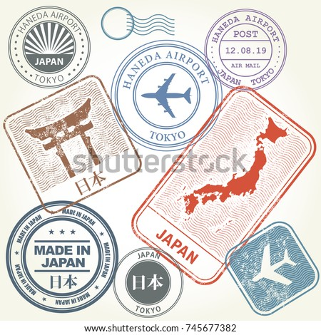 travel stamps set japan and